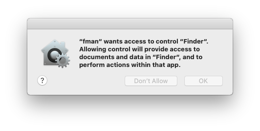 fman wants access to control Finder.