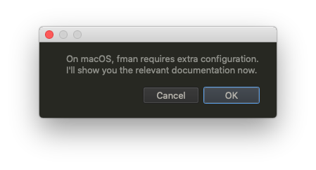 fman asking whether to open the documentation for macOS Catalina