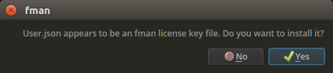 fman dialog asking whether you want to install the User.json license key file