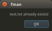 fman alerting that a file to be overwritten already exists