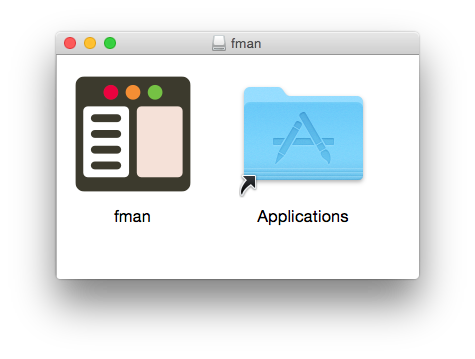 fman's installer. fman's icon is on the left and the Applications icon is on the right.