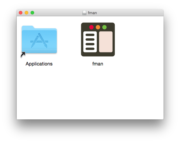 fman's installer. The Applications icon is on the left and fman's icon is on the right.