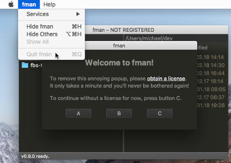 The menu in fman on Mac; The splash screen is in the background. The Quit entry in the menu is disabled.