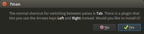 fman saying that the shortcut for switching panes it Tab, and offering to install a plugin that lets you switch panes with the Arrow keys