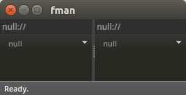 fman showing the empty location null:// in both panes