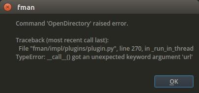 Error when opening a directory