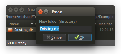 fman's New Folder dialog suggesting the name of the selected file in the background.